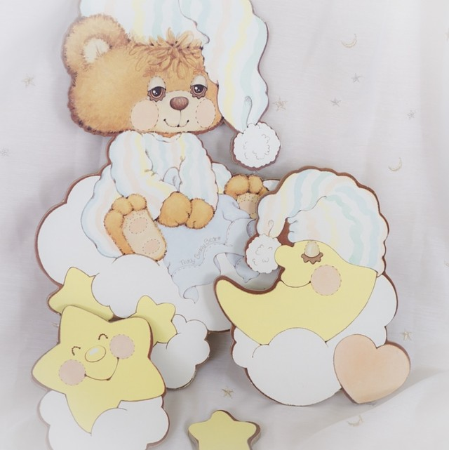 【Teddy Beddy Bear】くまと月と星/ウォールデコ