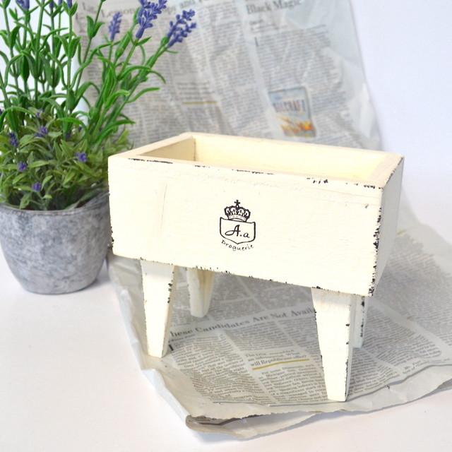 スタンドボックス 木製 AZ-804 ホワイト ナチュラル シャビー プランター 小物入れ ポット インテリア ガーデニング