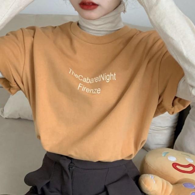 半袖 ロゴデザイン Uネック トップス Tシャツ 4色 B2896