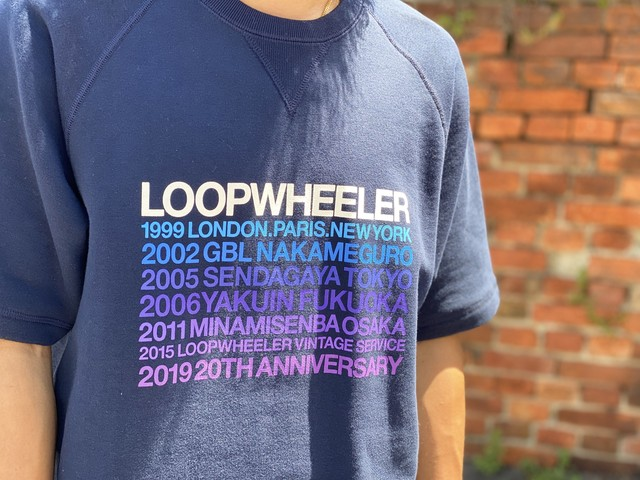 LOOPWHEELER 20TH LIMITED S/S CREWNECK SWEAT NAVY LARGE 150IF 5570