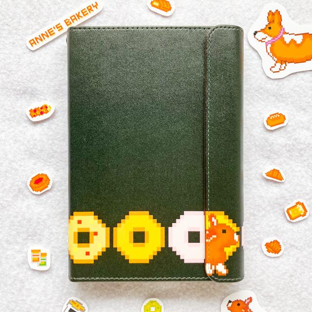 システム手帳ミニ6穴(ポケット)サイズ  お野菜ベーグル&ジャニス柄 ブラック