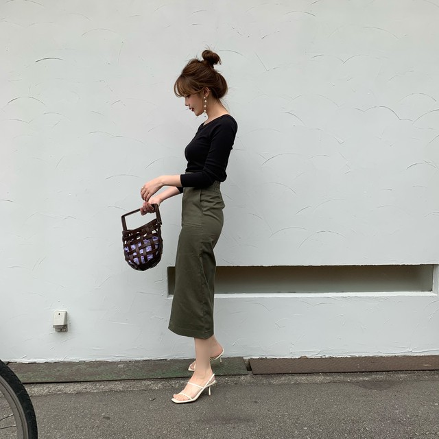 【予約】baker tight skirt / khaki