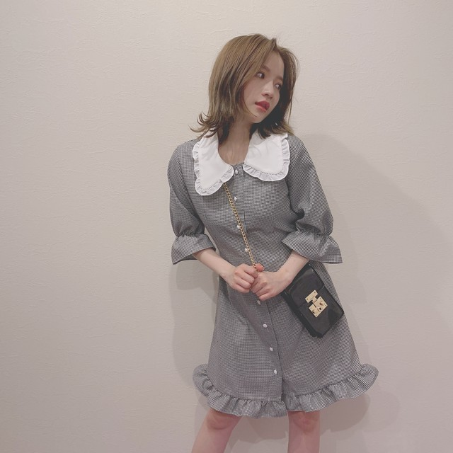 frill collar gingham one-piece (S19-04018K)
