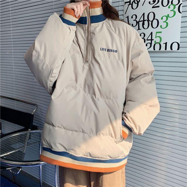 アウター レディース コート ジャケット プルオーバー ハイネック フロントジッパー 長袖 オーバーサイズ Bigサイズ メンズライク カジュアル 大人カジュアル あったか 秋冬 OT-0256-y