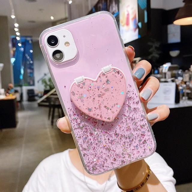 iPhone ケース 韓国 ハートミラー付きキラキラケース クリア 透明 鏡 シンプル 個性的 お揃い 可愛い お洒落  Phone 7 8 SE2 X Xs XR 11 11Pro 11Promax 12 12mini 12pro 12promax スマホケース 携帯ケース