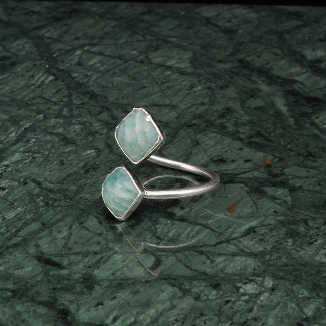 DOUBLE STONE OPEN RING SILVER 011