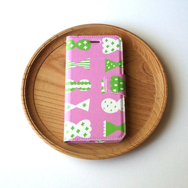 candy butterfly ( pink × green ) 手帳型スマホケース【受注生産】 ★ Lサイズは+400円