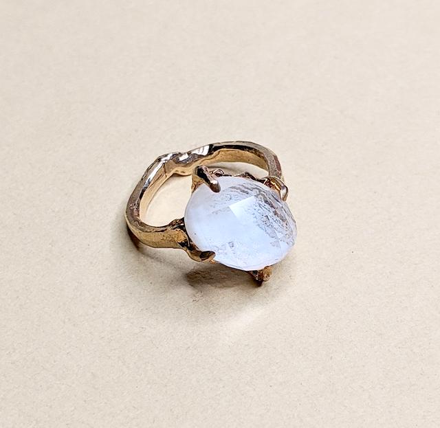 Blue Lace Agate & Quartz Ring