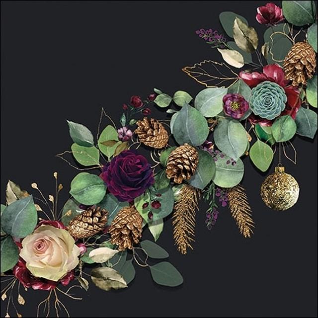 2020秋冬新作【Ambiente】バラ売り2枚 ランチサイズ ペーパーナプキン Eucalyptus ブラック