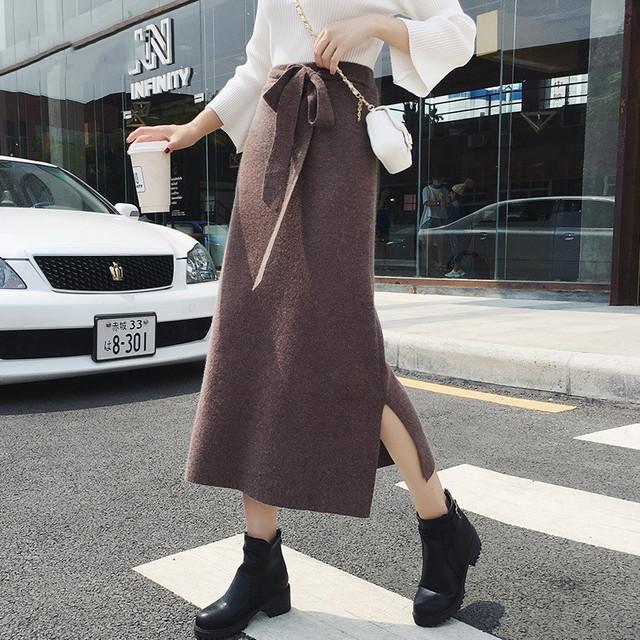 【bottoms】エレガント気質満々スリット厚くてスカート 24384368