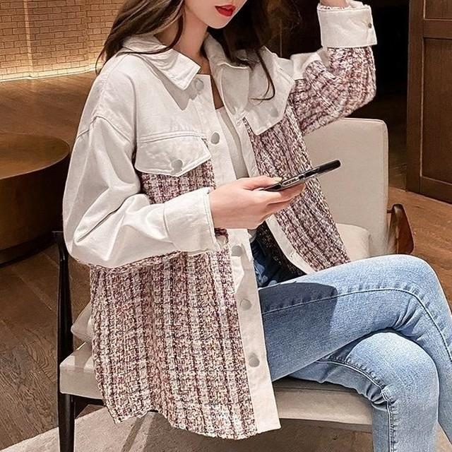 ツイードステッチシャツジャケット C210801
