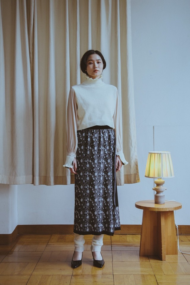 【予約】YUKISHIMANE Flower Sparkle Knit wrap skirt