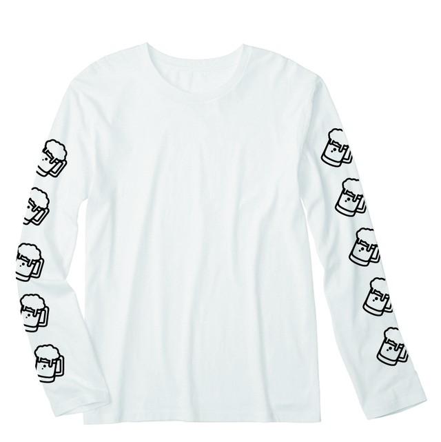 ビール ロングTシャツ(ホワイト) - メイン画像