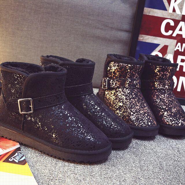ミニ丈 ベルト付き ムートンブーツ ショートブーツ ボアブーツ / Short tube plus velvet wild snow boots (DCT-524515617524)