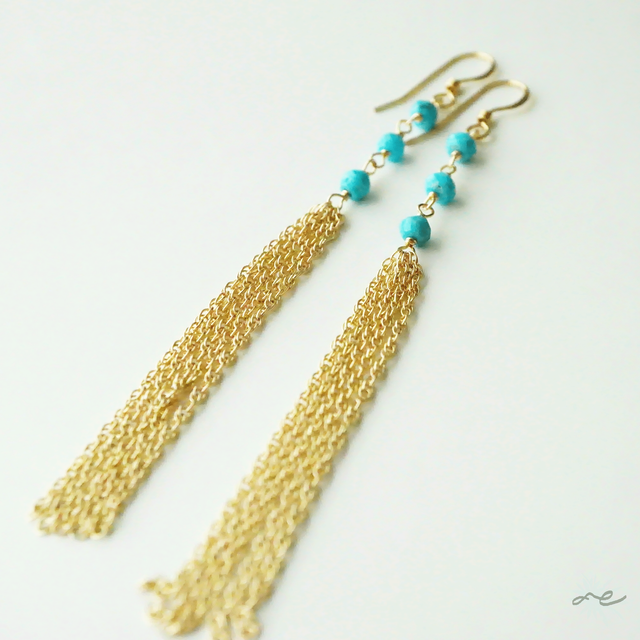 Turquoise Long Chain Earrings/14KGF