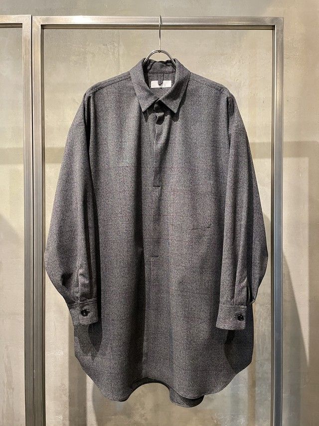 T/f Lv4C stretch glen check oversized shirt - combined black