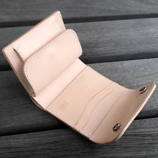 財布 コンパクト ミニウォレット イタリアンレザー 生成りのヌメ革使用 ナチュラル/ベージュ系  日本製 CW001-NA LEVEL7