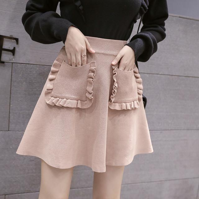 【bottoms】チェック柄フリンジ高品質スカート