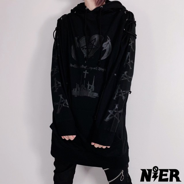 SHOULDER BRAID LONG BLACK HOODIE【NieR HEART】