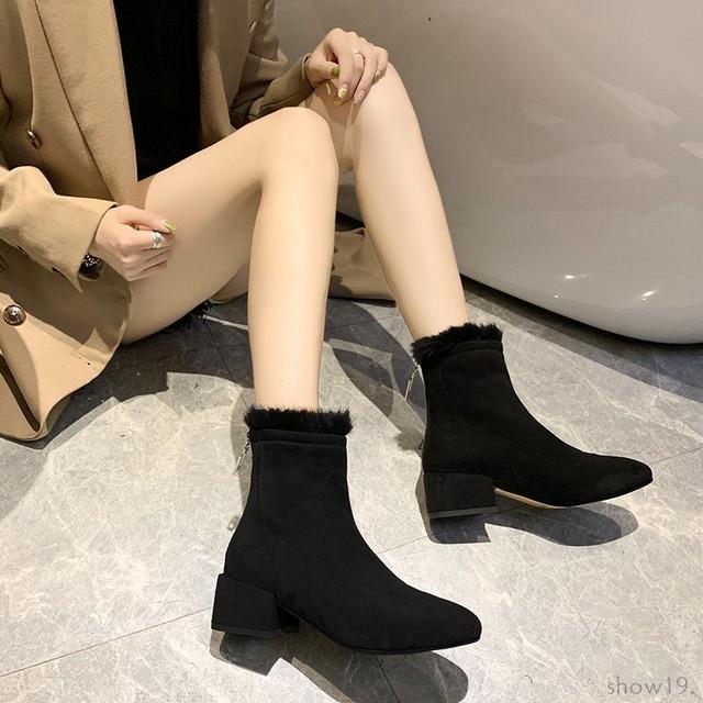 【シューズ】着回し最強切り替えファッション暖かいブロックヒールショート丈ブーツ38214556