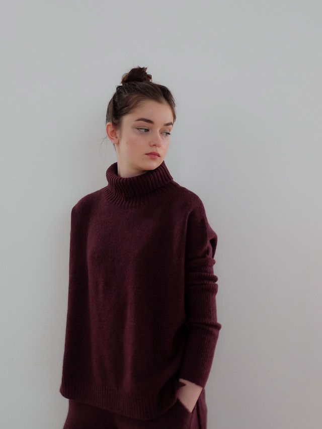 fitted sleeve turtle knit(cassis)