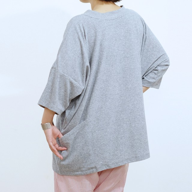 96% Wide-Tshirt_Cotton pile [ L.Gray ]