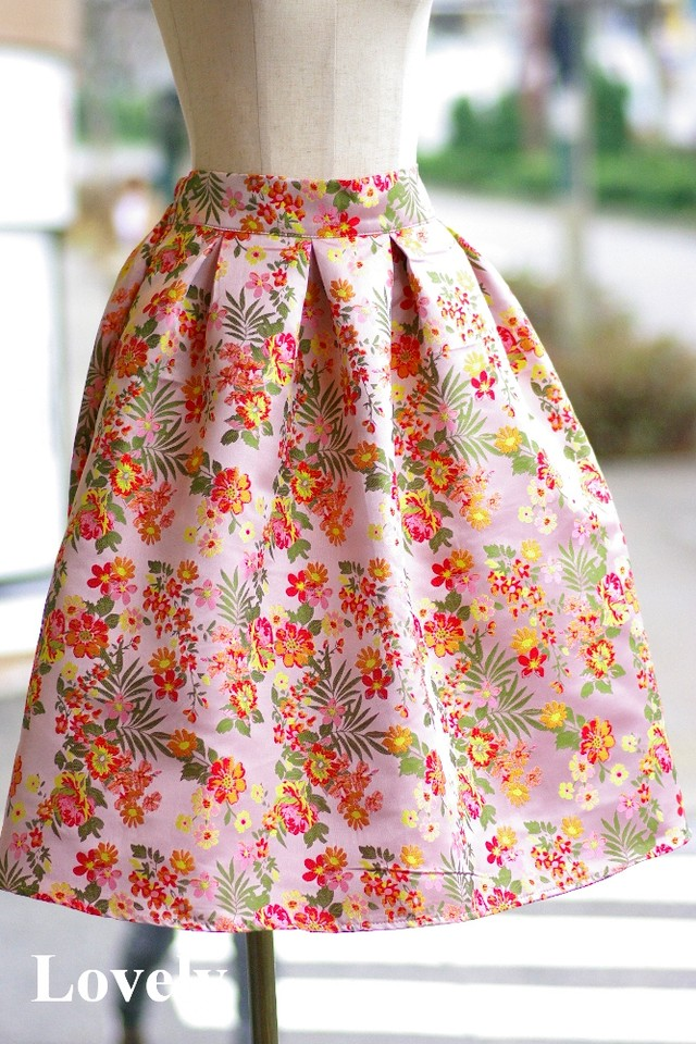 【アパレル・ボトムス】ミニフラワー スカート・ピンク