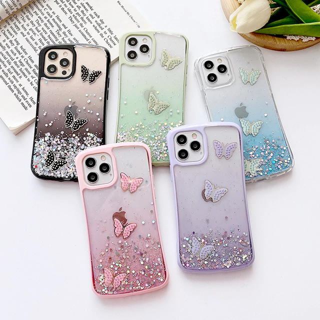 Butterfly glitter iphone case