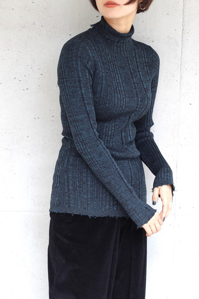 【SAYAKADAVIS】ribbed turtleneck-green