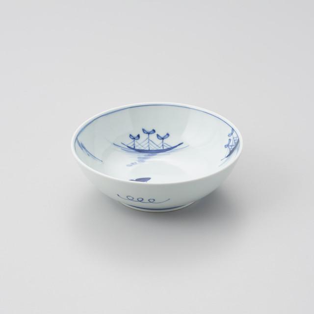 """【青花】""""船と異人"""" 5寸ボウル(ステッキ異人)"""