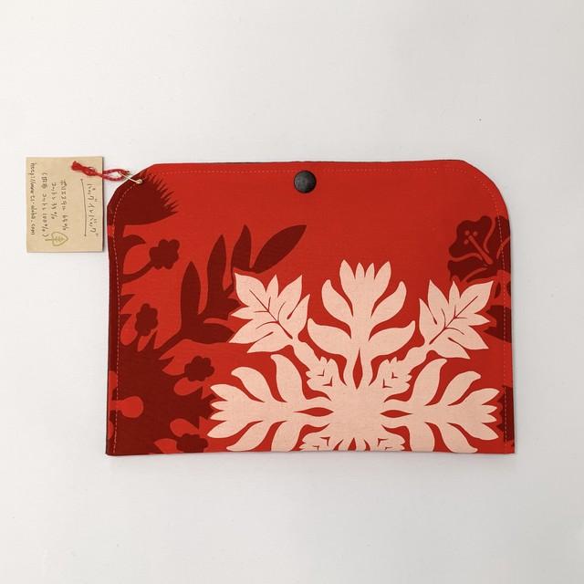 【一点ものにつき無くなり次第終了】T's gallery original カードが仕分けしやすいバッグインバッグ ハワイアンハンドメイド レッドハワイアンキルト