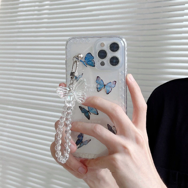 Blue butterfly chain iphone case