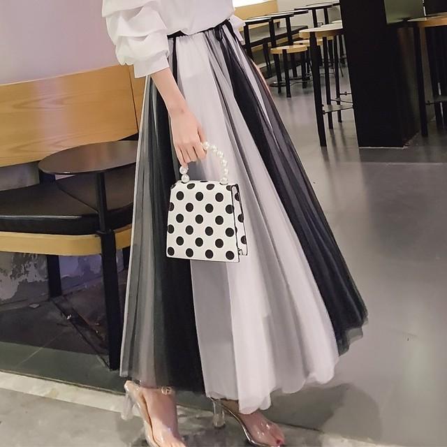 【ボトムス】ファッション切り替え配色足首丈ハイウエストスカート41653513