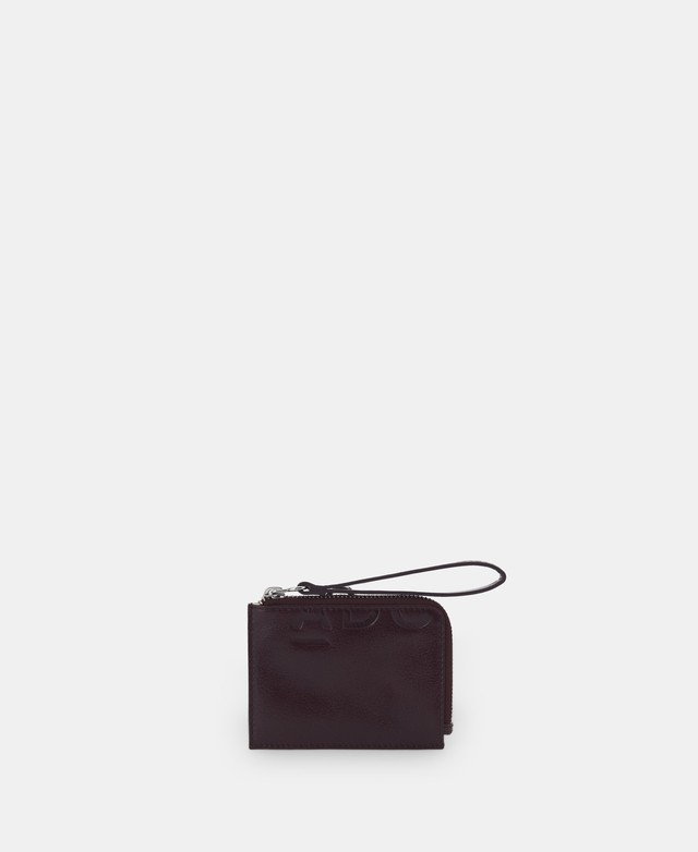 GRAINED LEATHER CARD HOLDER WALLET [231541597111]