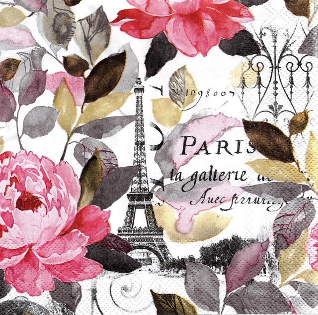 入荷しました|廃番【IHR】バラ売り2枚 ランチサイズ ペーパーナプキン JARDIN PARIS ピンク