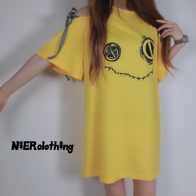 BIG SIZE YELLOW OFF-SHOULDER TOPS【リボン付き】