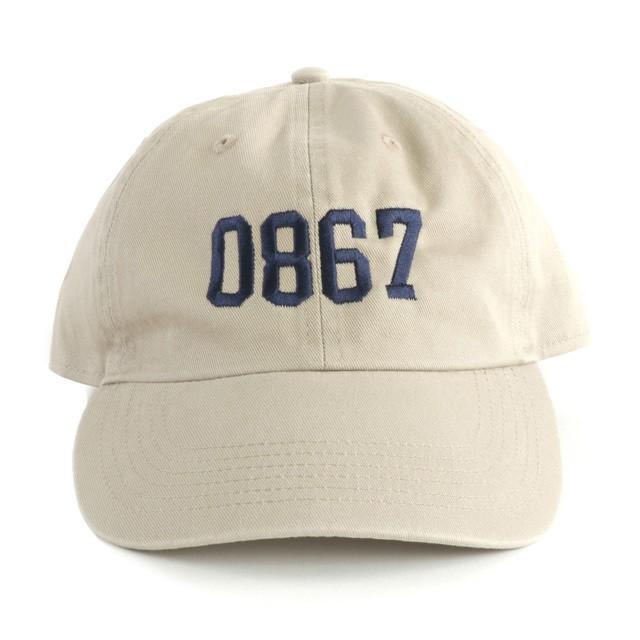 0867 / Washed Cotton Baseball Cap / College / Logo / Khaki