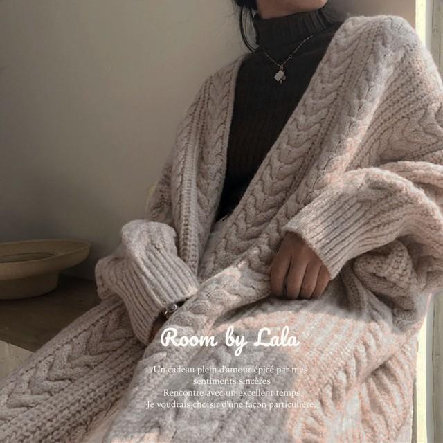 【即納】Long knit cardigan / アウター / LE202181 (light beige)