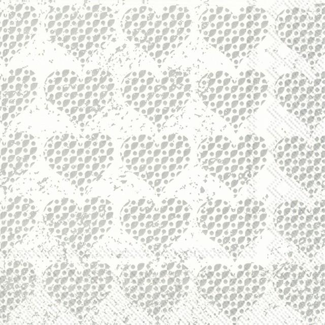 2020春夏【IHR】バラ売り2枚 ランチサイズ ペーパーナプキン FANCY HEARTS シルバー