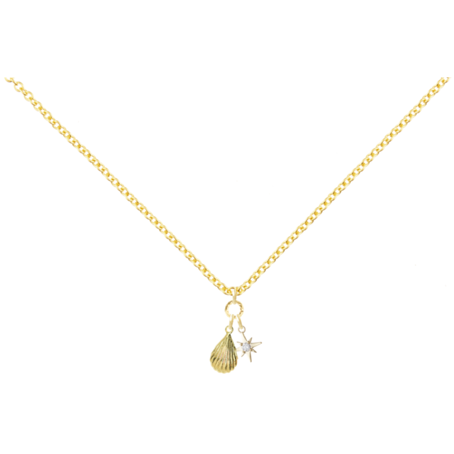 14KGF Gold shell necklace