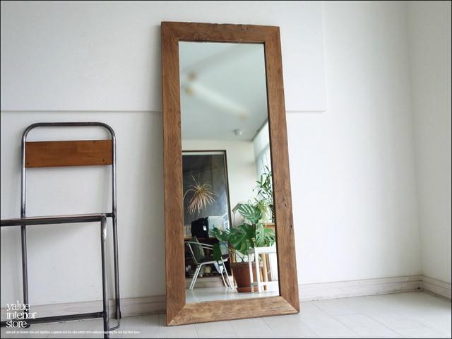 オールドチークフレームミラー姿見140cmK 鏡 全身用 全身鏡 総無垢材 ナチュラル 手づくり 木製フレーム 古材 ハンドメイド 送料無料