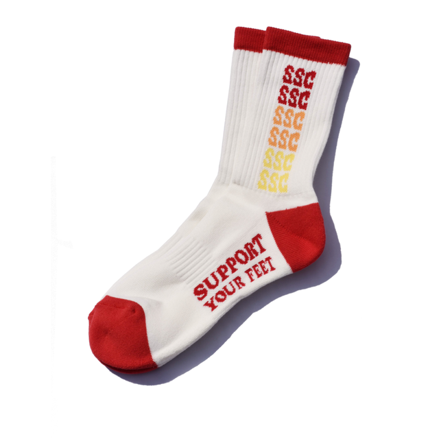 SURF SKATE CAMP #SSC Rainbow Socks White/Red