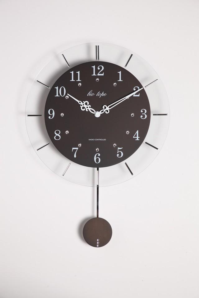 振り子時計 電波時計 電波スロー振り子時計 BIO-006 板尾工芸オリジナル - メイン画像