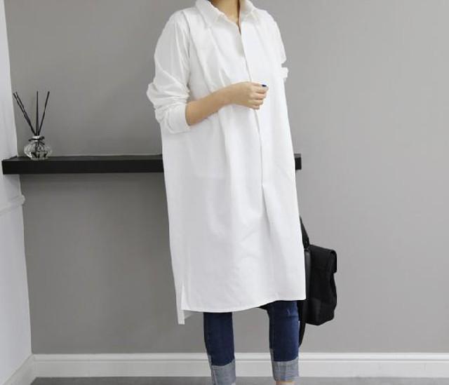 ホワイト★ロングシャツワンピース - メイン画像