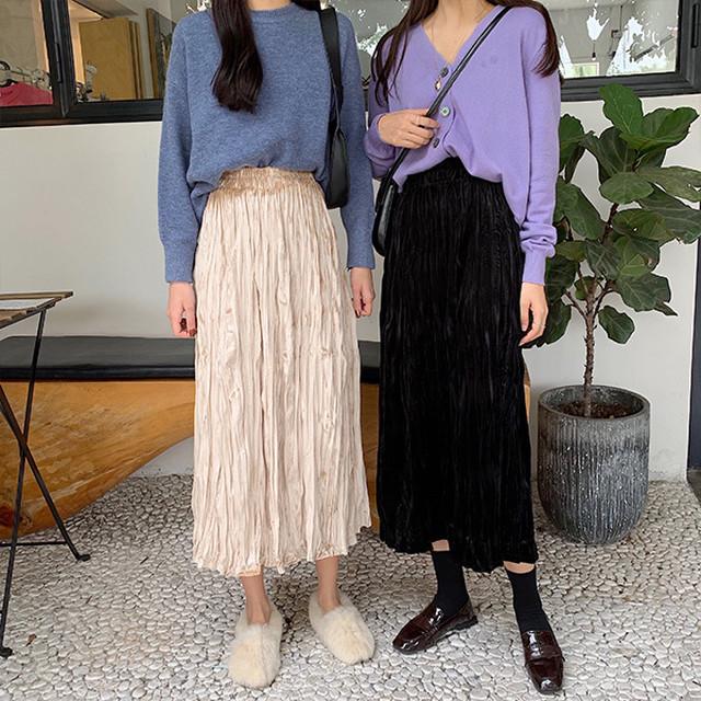 光沢のあるプリーツロングスカート【FS1751】