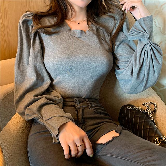 【tops】キャザー飾り気質あふれランタンスリーブTシャツ