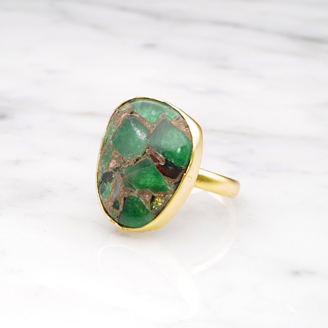 SINGLE BIG STONE RING GOLD 115