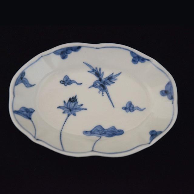 須藤拓也 TAKUYA SUDO  染付楕円小皿 (鳥と蓮)