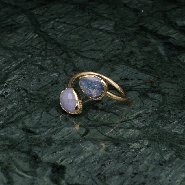 DOUBLE STONE OPEN RING GOLD 008