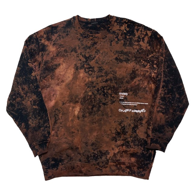 【Crudely Hommes】''Crudely'' Dictionary Tie-Dye Crew Neck Sweat